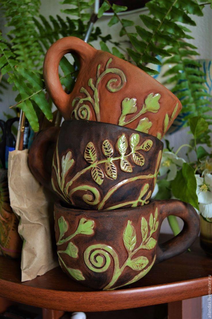 Купить или заказать Керамическая кружка с растениями в интернет-магазине на Ярмарке Мастеров. Керамические кружки с растениями Керамика, молочение, глазурь 270…