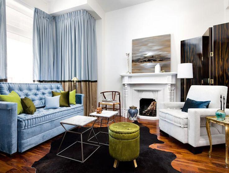 Cool Blue Bright Green Living Room Velvet Sofa Stool