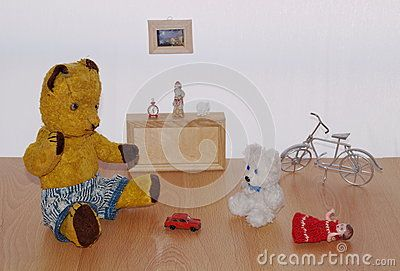 Teddy bear Morulet in play roomnThe bear is bought from the supermarket 50 years ago.