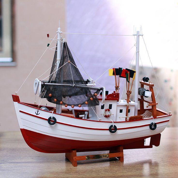 Cheap Modelo De Barco de Pesca de Madera maciza Hechos A Mano Nave Náutica…