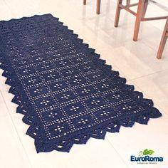 Receita • Tapete de Crochê Azul Marinho - EuroRoma                              …