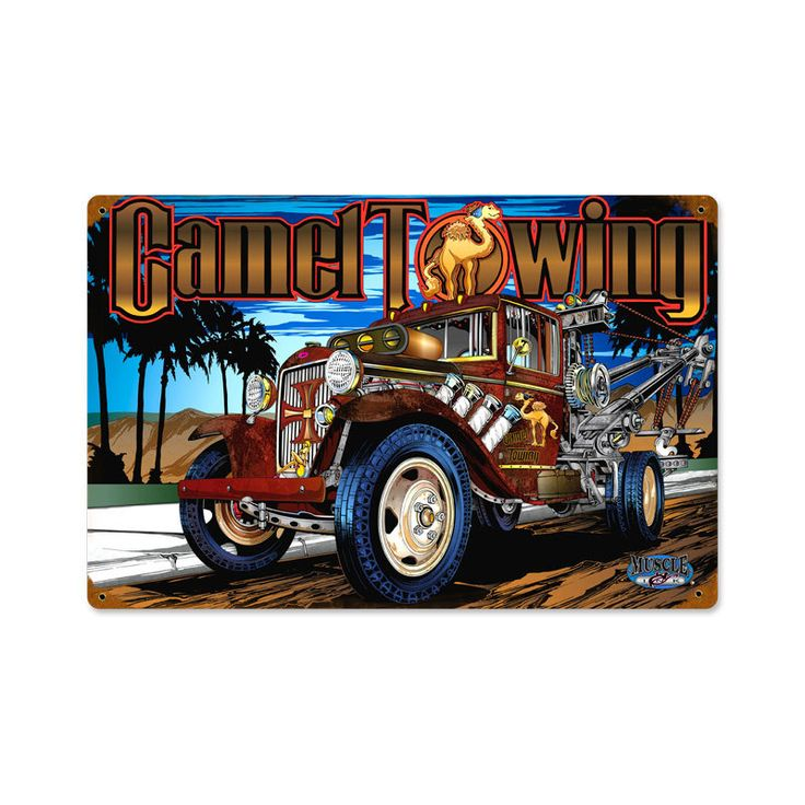 Retro Camel Towing  Metal Sign 18 x 12 Inches, $49.97 #retro #vintage #metalsigns #tinsigns #homedecor #bardecer #gameroom