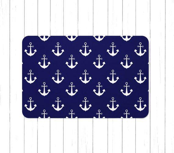 Navy Blue Nautical Anchors Area Rug or Bath by SweetPeaPetiteShop - Best 25+ Nautical Bath Mats Ideas On Pinterest