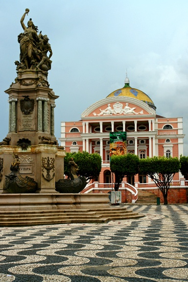 The opera house in Manaus was built in 1896 at the height of he rubber boom.