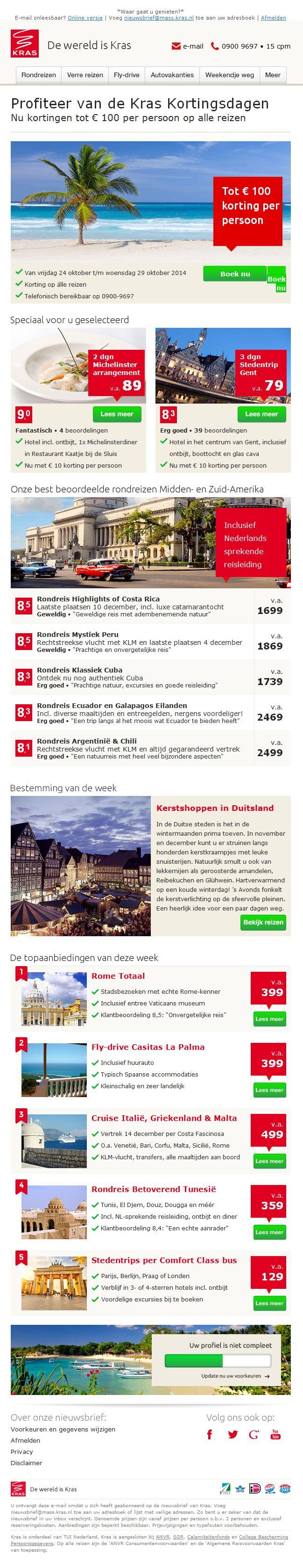 """Kras.nl - Mooi voorbeeld van continu aandacht voor profielverrijking in de nieuwsbrief (zie het blok onderaan). Daarnaast toont Kras aanbiedingen die """"Speciaal voor u geselecteerd"""" zijn. Ze laten dus eigenlijk direct zien wat ze o.a. met de profielgegevens doen."""