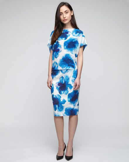 Ink Blue Floral Pencil Skirt