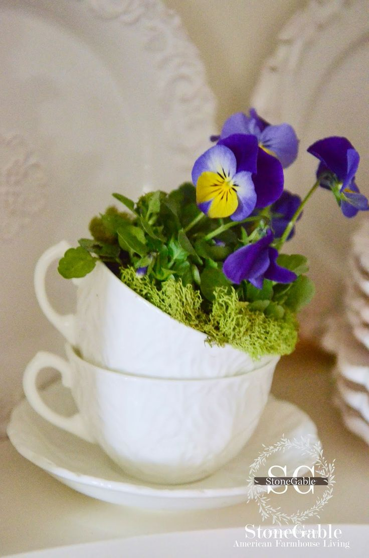 StoneGable: PANSIES IN TEA CUPS...A TINY SPRING DIY