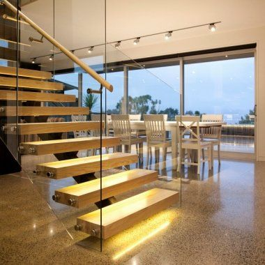 Floating Stair Taupo - American Ash treads on steel stringer