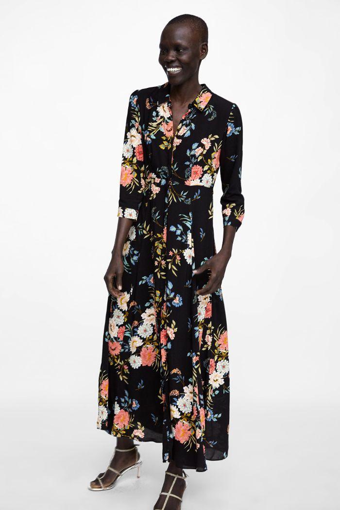 Zara Long Floral Print Dress Floral Print Dress Long Zara Maxi Dress Dresses