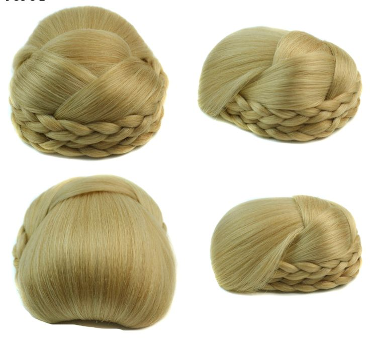Q48  Synthetic chignon hair braided bu color of 27/613 fake hair bun pieces