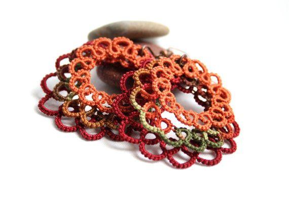 Autumn Circle Dangle Tatting Lace Round Earrings