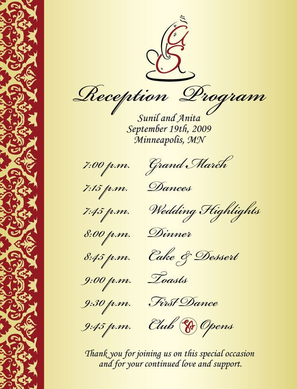 Wedding reception program sample weddings events puram for Design your wedding reception