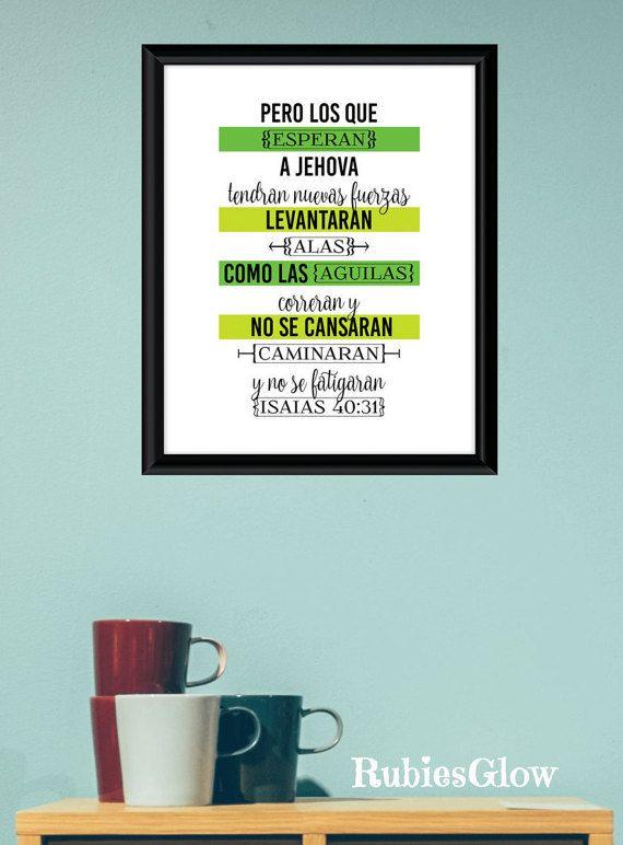 Espera en el Señor, Isaias 40:31 - Bible verse - Hope quote - Isaiah Bible verse -Citas cristianas español- Instant download - Digital Art -