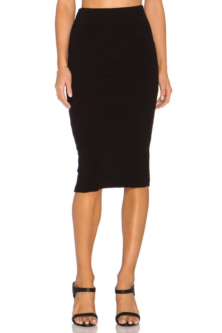 """Beautiful pencil skirt, fits very well.Elasticized waist.Heavy rib knit skirt.    Measures: 27"""" L   Heavy Rib Skirt  by James Perse. Clothing - Skirts - Pencil Toronto, Canada"""