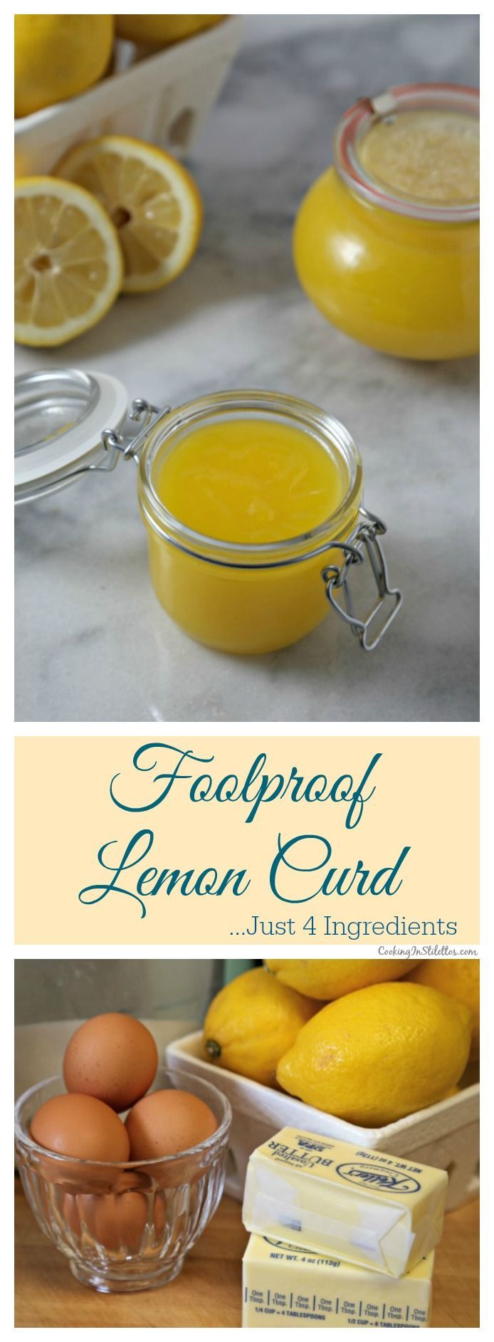 This Foolproof Homemade Lemon Curd from CookingInStilettos.com is made from scratch with just 4 ingredients. This silky luscious lemon curd is delicious spread on scones, swirled into yogurt, added to cupcakes or even by the spoonful straight from the jar.  Homemade Lemon Curd | Pantry Staple | Fruit Curd | Easy Dessert | Lemon | Meyer Lemon | How To Make Curd | Foolproof Recipe via @CookInStilettos