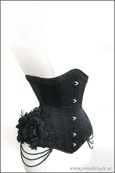 """Underbust Corset """"La Esmeralda"""".  Classy black underbust corset made from high quality satin.  The top edge is embellished with guipure lace border and the hips are decorated with beautiful lace ornaments, Swarovski crystals, detachable strings of black beads and black silk roses."""