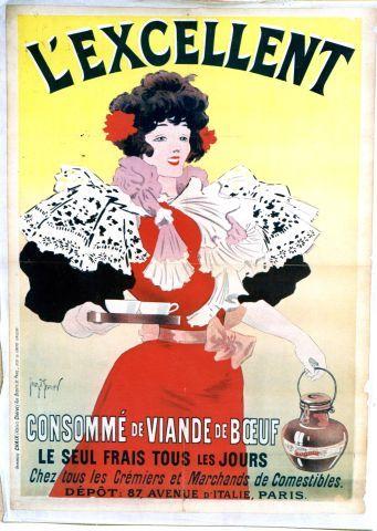 Meunier l 39 excellent consomm de viande de boeuf 1895 vintage poster vintage posters feat - Consomme de boeuf maison ...
