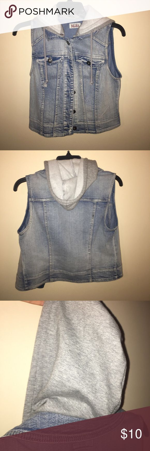 Hooded Jean Jacket! barely worn hooded jean jacket! this jacket is slightly cropped; size medium from the brand Mudd; smoke free pet free home; feel free to ask questions and leave offers! Mudd Jackets & Coats Jean Jackets