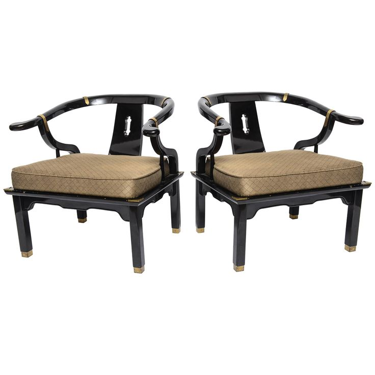 Charming Beautiful Black Lacquered Chairs By James Mont. Chairs Have Original  Upholstery And Brass Accidents.