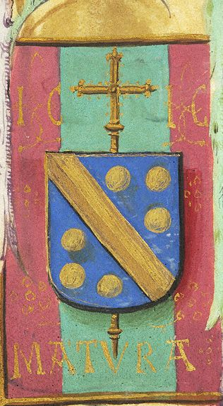Escutcheon with arms of Jean Carondelet (azure a fasce and six bezants or en orle, an archiepiscopal cross in pale beneath the shield), with the motto MATURA and the initials IC. (f°53v) -- «Book of Hours», Bruges (Belgium), ca. 1500 [Morgan, MS M.390]