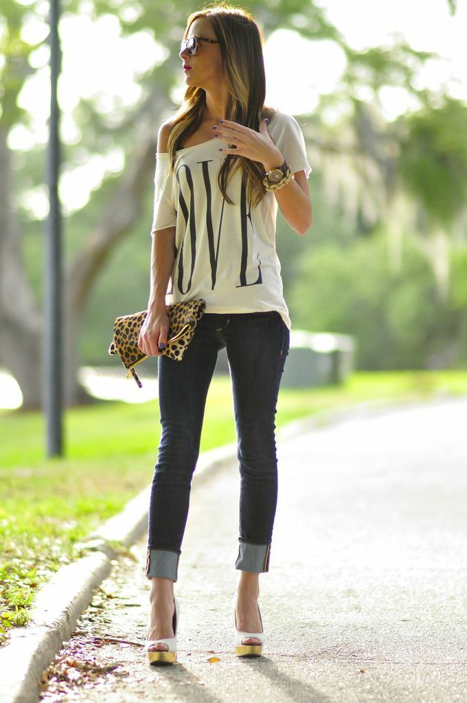 Off the shoulder over sized top, jeans cuffed , leopard bag, and rockin heels..... This is Soooooo Me!