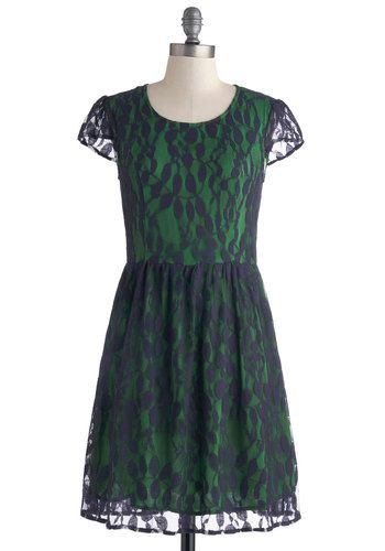 Becoming Second Nature Dress - Mid-length, Blue, Lace, Party, A-line, Cap Sleeves, Scoop, Green, Sheer
