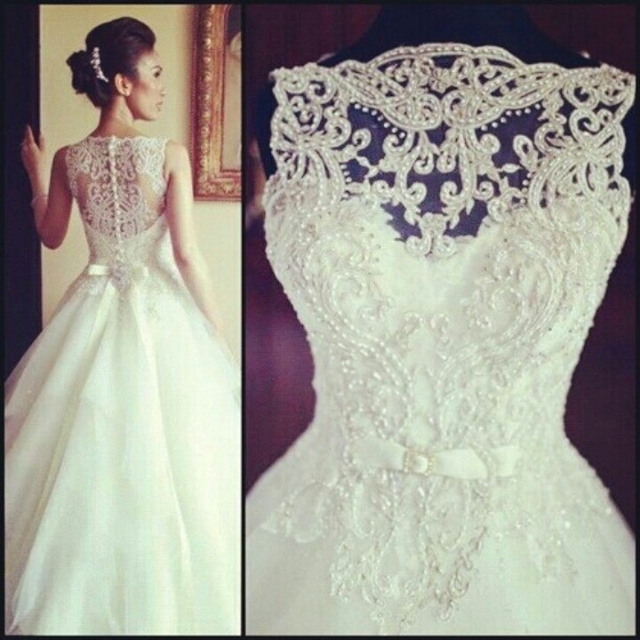 We see a lot of open backs with lace or sheer coverage