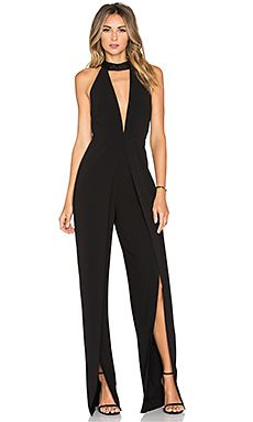 Halston Heritage High Neck Jumpsuit en Negro