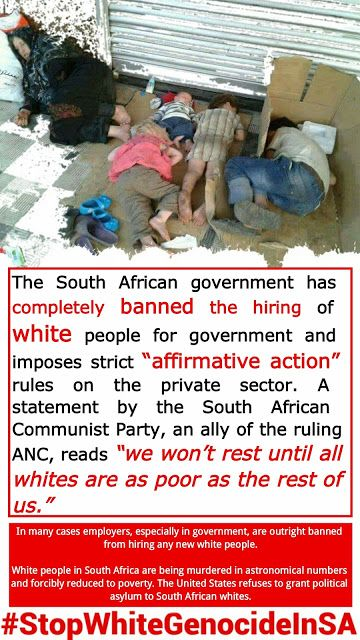 One-million of 3-m Afrikaner whites are destitute, starving in SA ... White Genocide in South Africa #StopWhiteGenocideInSA