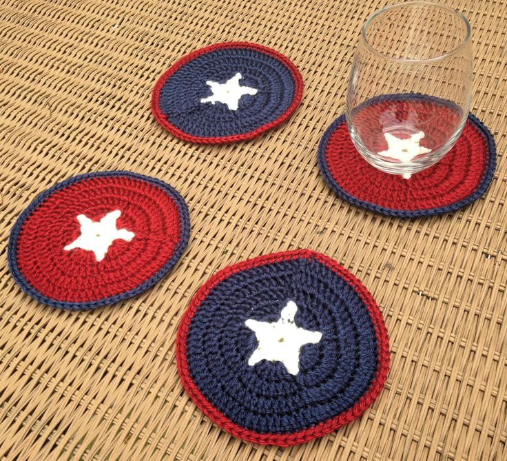 Coasters, 4th of July Coaster Set, Independent Day Coasters, July 4th Coaster Set, Crochet Coasters, Crochet Coaster Set, Red, White, Blue by 406stitching on Etsy https://www.etsy.com/listing/237080669/coasters-4th-of-july-coaster-set