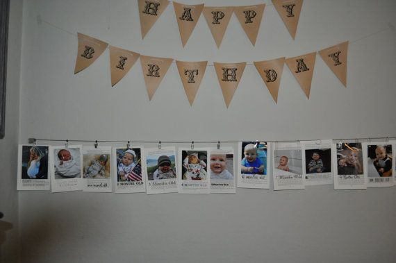 Personalized First Birthday Montly Picture Time Line