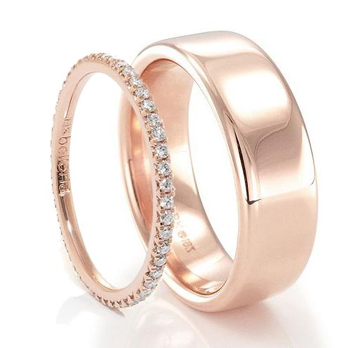 Feminine and masculine... Both refined in their own way His & Hers Bands! Nice is ladies band would match well with engagement ring.   Ladies Rose Gold Diamond Band designed by #Belloria & Mens Rose Gold Band designed by #Benchmark. Both from #TitaniumJewelry. For hers click here: http://www.titanium-jewelry.com/rose-gold-diamond-wedding-band-1.html . For his click here: http://www.titanium-jewelry.com/gr-b17518r.html . #rosegold #hisandhersrings #sayido #weddingrings #diamondring