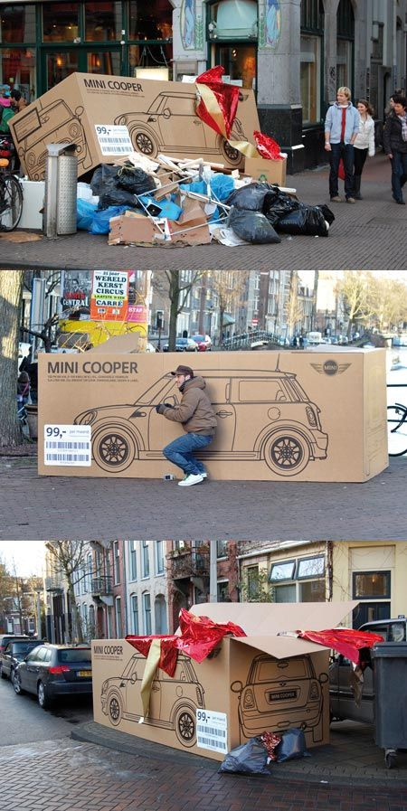 Mini Cooper - Street & Ambient Marketing. I would totally be the guy pretending to drive the box.