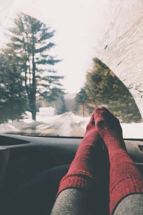 Driving into a Winter Wonderland where the snow coats the trees, dusts the roads and the cold leaves you snuggled up, in the car, with your cosiest woolly socks.
