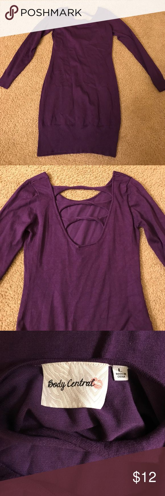 Body Central Purple Bodycon Sweater Purple bodycon sweater dress from Body Central. Size Large, worn once Body Central Sweaters