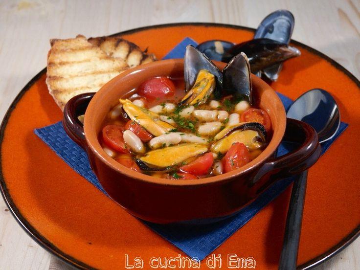 Zuppa di cozze e fagioli cannellini