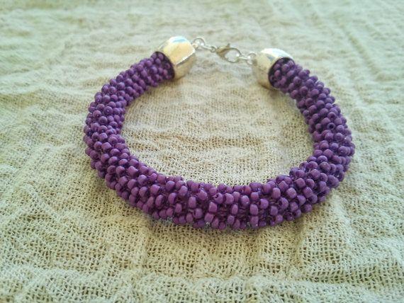 Purple matt beaded bracelet Beaded rope bracelet by GIASEMAKI
