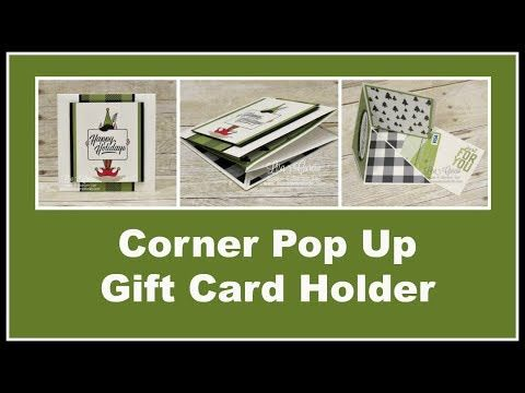 Corner Pop Up Gift Card Holder using Festive Phrases and Merry Little Labels from Stampin' Up!