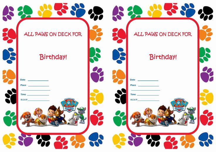 Paw Patrol Birthday Invitations