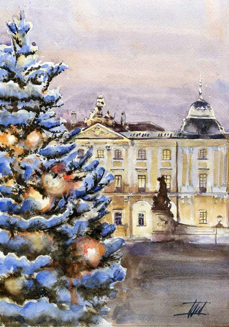"""Jaroslaw Glod - watercolor 21cm x 30cm - """"Branicki Palace, Bialystok, Poland"""""""