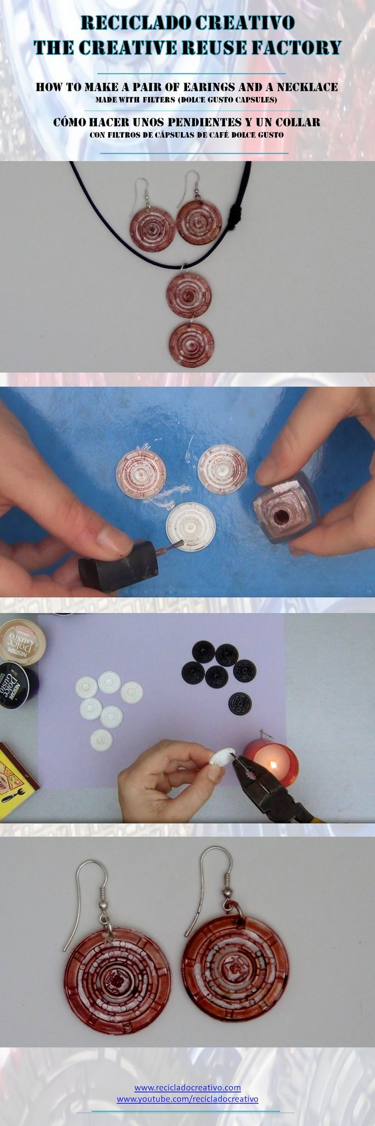 How to make a pair of earings and a necklace with recycled filters (Dolce Gusto Capsules) - Cómo hacer un par de pendientes y un collar con filtros (Cápsulas de café Dolce Gusto)