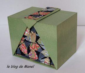 Aujourd'hui je vous retrouve avec quelques cartonnages......et parfois des variantes ! Je commence avec la boite K'do de Martine M. Joli papier japonnais bien raccordé ! La boite lampion avec méplat de Catherine C. Antoinette D. a ajouté sa touche perso...