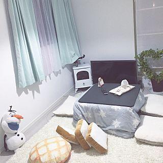 ニトリのこたつ布団カバーのインテリア実例   RoomClip (ルームクリップ) Overview/IKEA/パン/猫/セリア/こたつ/ホワイトインテリア/ヒーター
