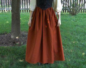 Natural lino Renacimiento largo falda traje de por CrystalKittyCat