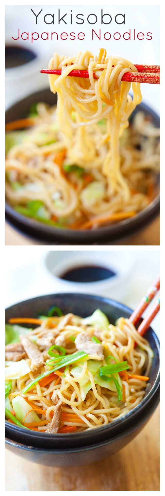 {Japan} Yakisoba or Japanese fried noodles is a popular dish. Inspired by Chinese fried noodles, this yakisoba recipe is made with cabbage, carrot, and pork | rasamalaysia.com