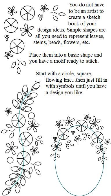 One of the introductory pages to the My Crazy Ideas Sketch Book at Amazon. It has some symbols for embroidery and an idea to get you started in designing you own embroidery motifs for thread or silk ribbon.    Or use the book for other ideas too!    www.shawkl.com