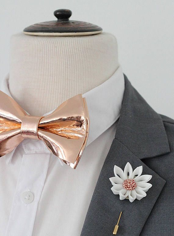 Rose Gold leather bow tie for menrose gold wedding bow tie
