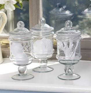 pretty mini apothecary jars for the bathroom
