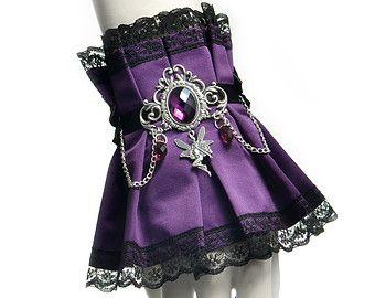 Violeta victoriano brazalete con cristales de color púrpura y un hada - accesorios de fantasía gótica, decoración de la muñeca de boda, moda de encaje negro, pulsera lindo