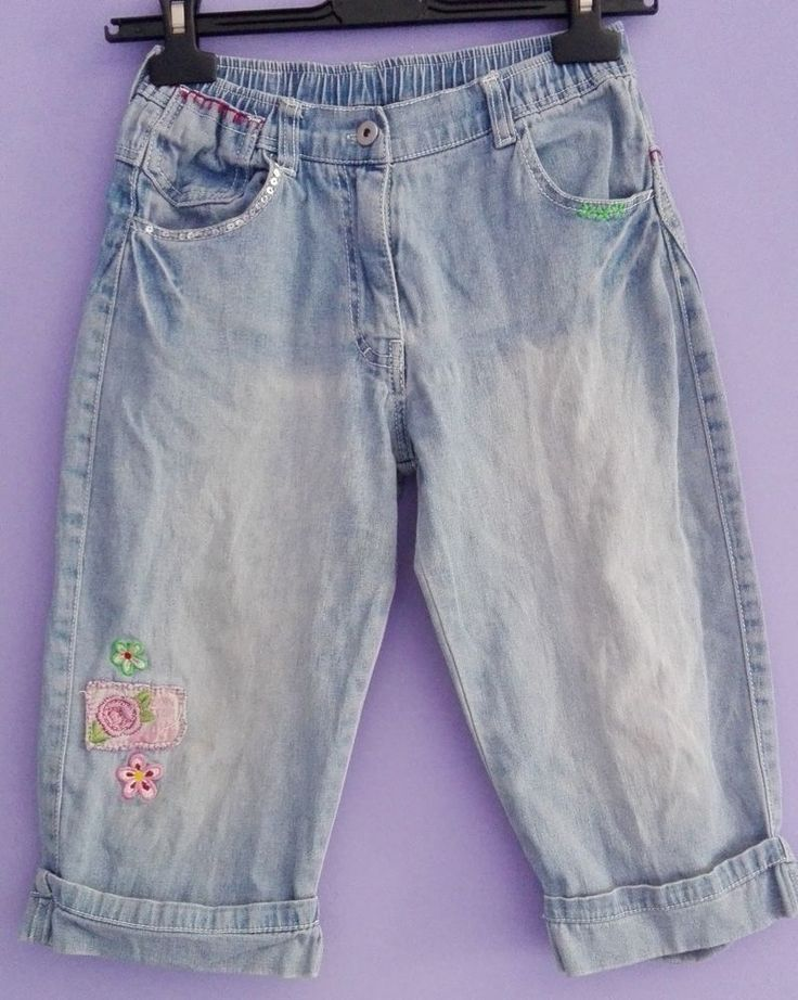 Jeans BAMBINA pinocchietto DODIPETTO 10 anni blu chiaro paillet ricami floreali
